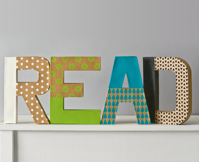 Handmade Charlotte Patterned Paper Mache Letters - READ