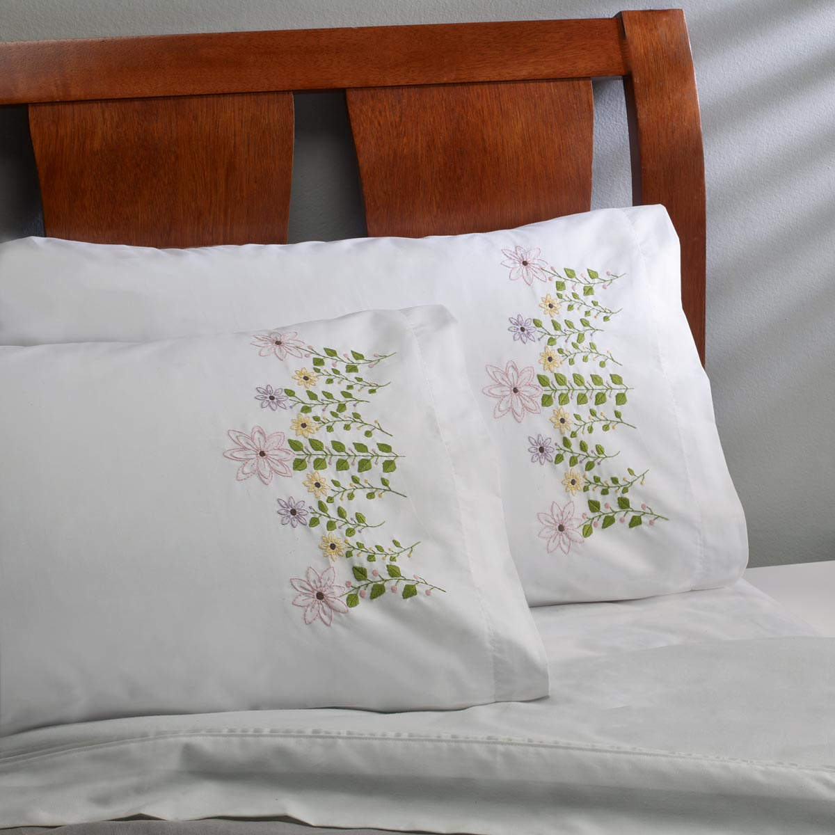 Bucilla ® Stamped Cross Stitch & Embroidery - Pillowcase Pairs - Pink Flowers - 47934E