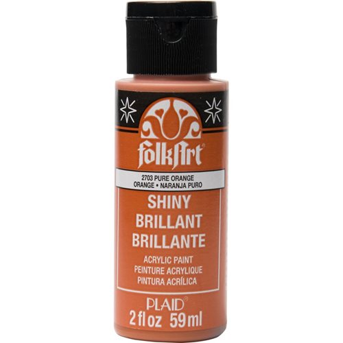 FolkArt ® Shiny™ Acrylic Paint - Pure Orange, 2 oz.
