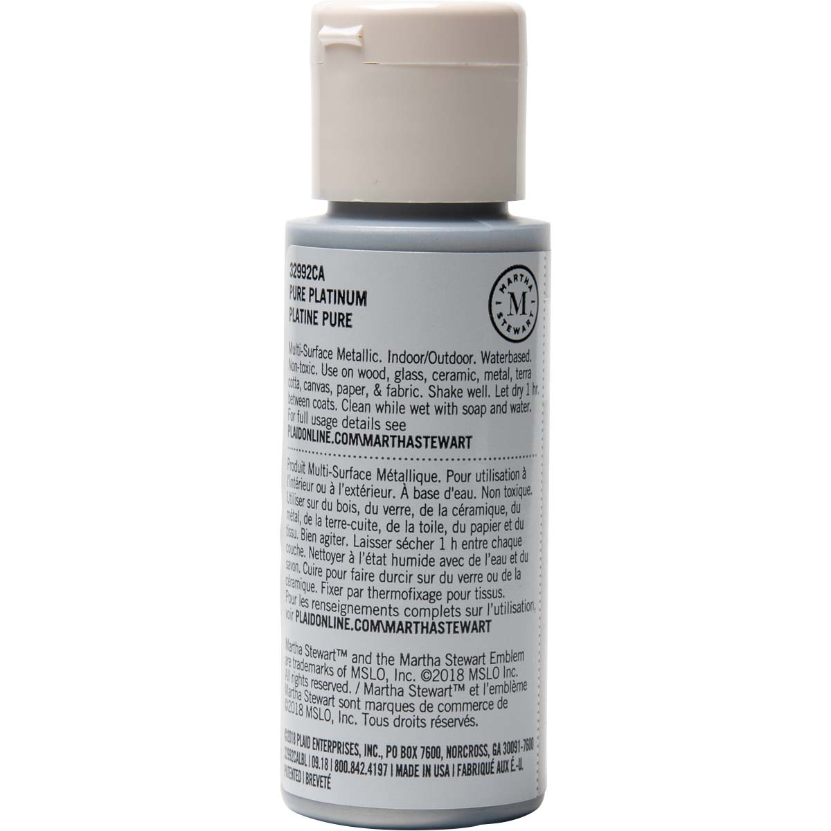 Martha Stewart ® Multi-Surface Metallic Acrylic Craft Paint - Pure Platinum, 2 oz.