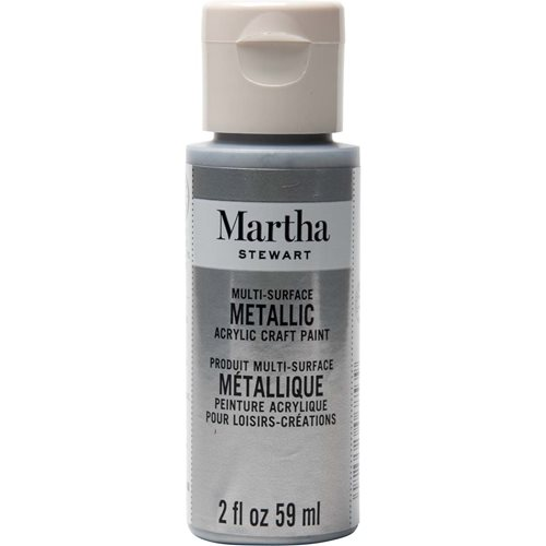 Martha Stewart ® Multi-Surface Metallic Acrylic Craft Paint - Pure Platinum, 2 oz. - 32992CA