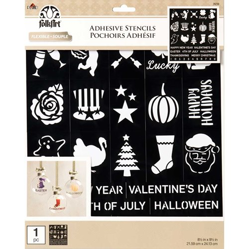 FolkArt ® Laser Cut Adhesive Stencils - Holiday Fun - 39250