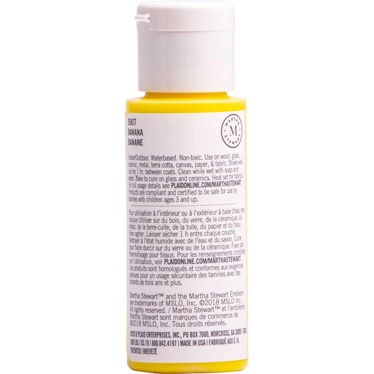 Martha Stewart ® Multi-Surface Satin Acrylic Craft Paint CPSIA - Banana, 2 oz. - 5907