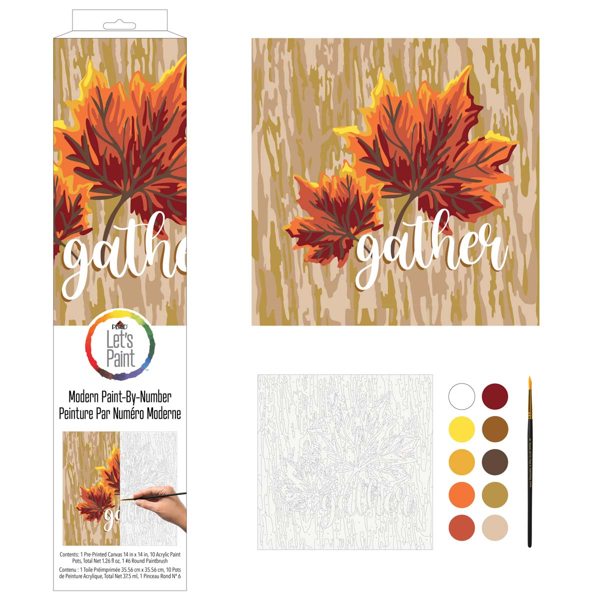 Plaid ® Let's Paint™ Modern Paint-by-Number - Gather Leaf - 17915