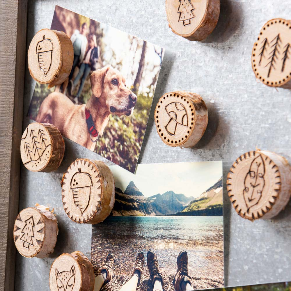 Wood Burned Magnet Set
