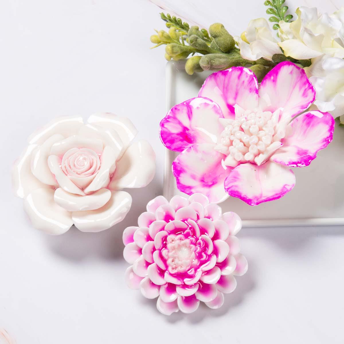 Pink Ceramic Flowers