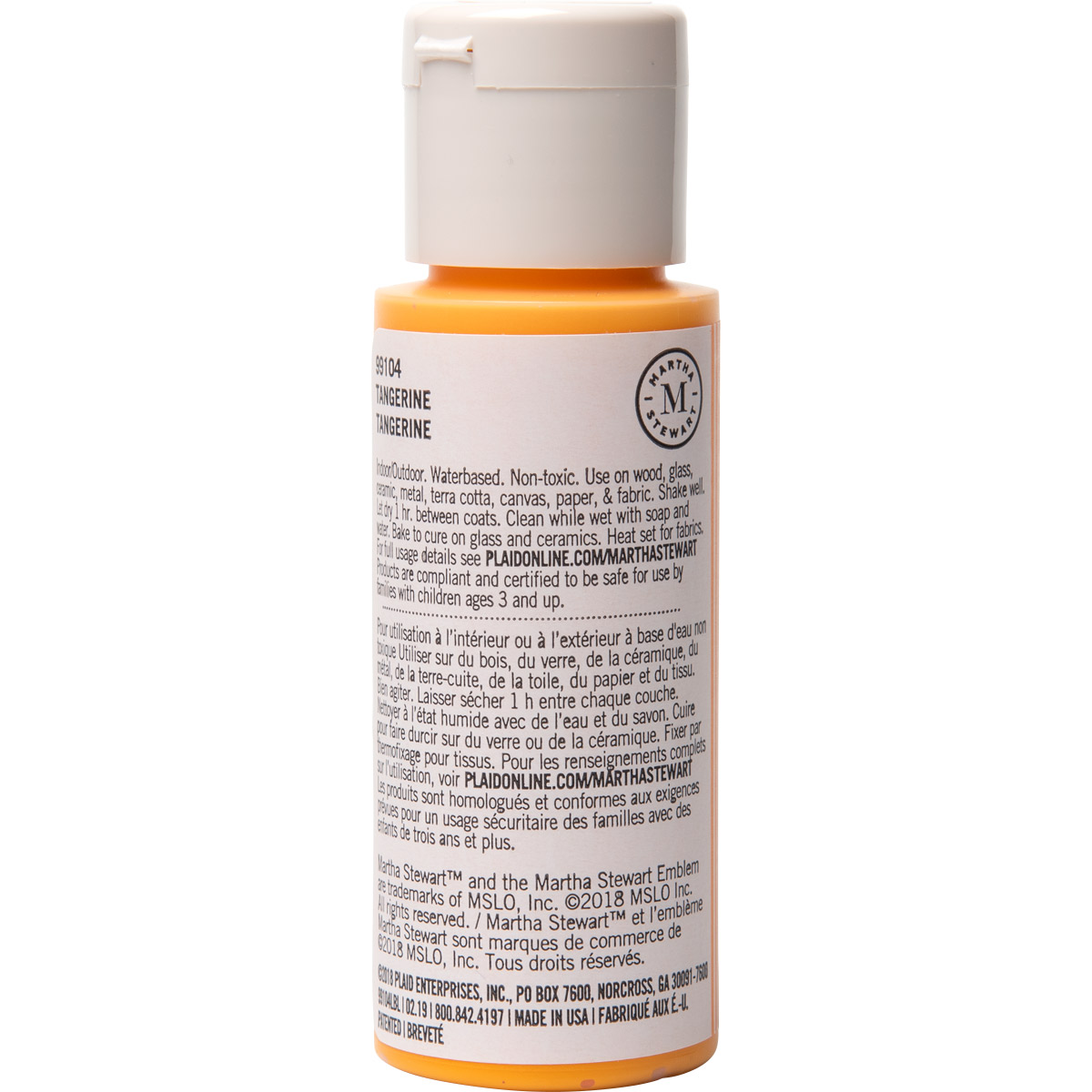 Martha Stewart ® Multi-Surface Satin Acrylic Craft Paint CPSIA - Tangerine, 2 oz. - 99104