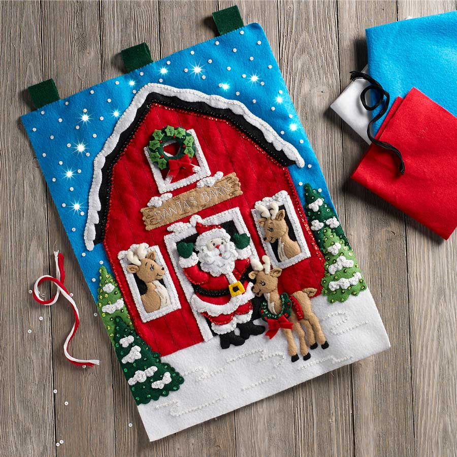 Bucilla ® Seasonal - Felt - Home Decor - Door/Wall Hanging Kits - Santa's Reindeer Barn with Lights