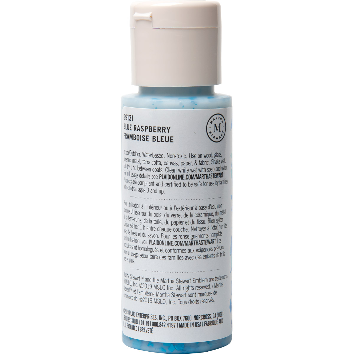 Martha Stewart® 2oz Multi-Surface VIntage Leaf Glitter Acrylic Craft Paint - Blue Raspberry