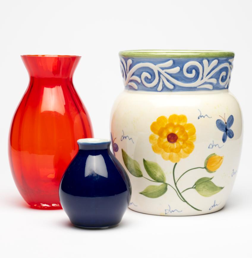 Hand Painted Terra Cotta Vases
