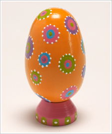 Orange Egg with Colorful Flower Dots