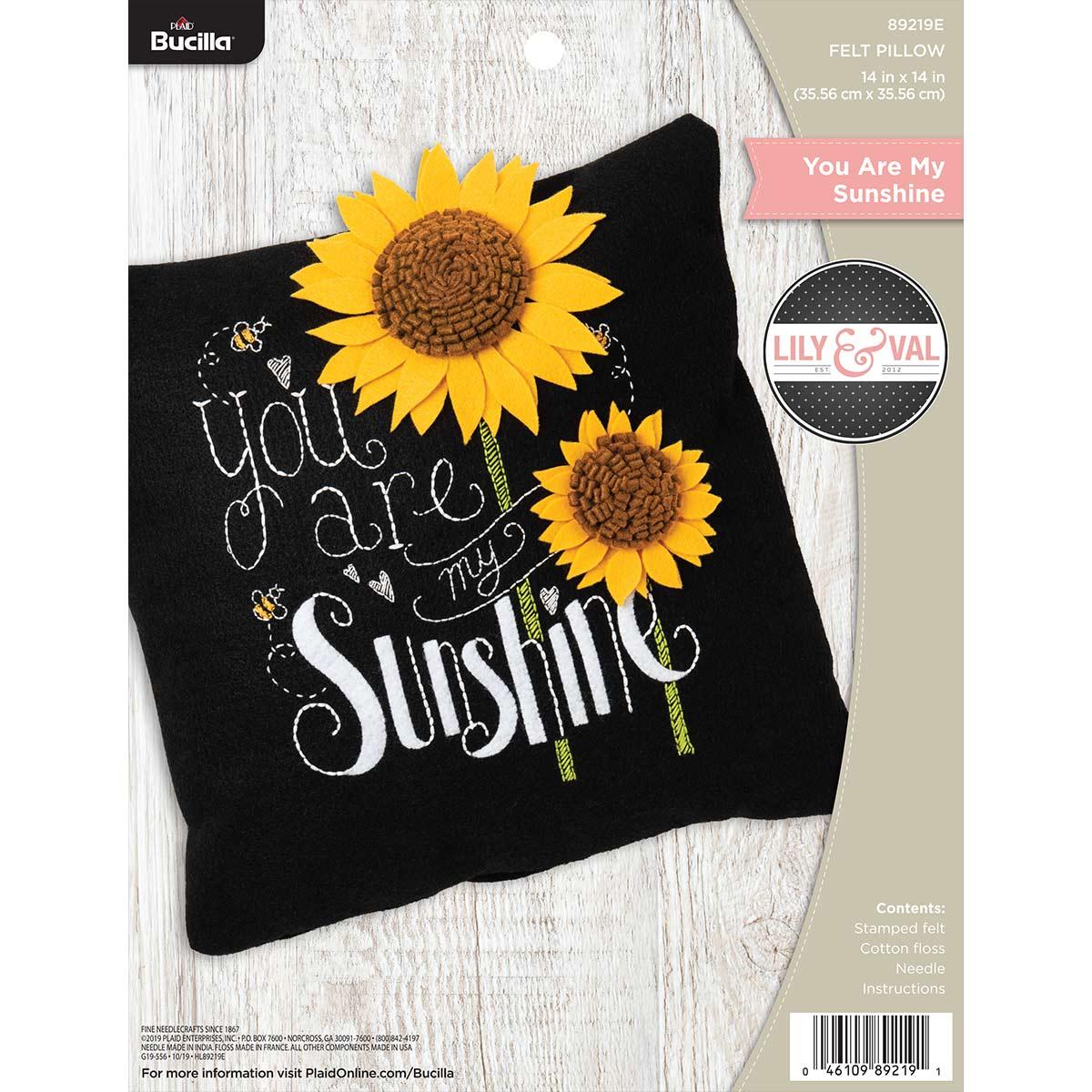 Bucilla ® Lily & Val™ Felt - Home Decor - You Are My Sunshine Pillow - 89219E