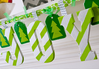 Green and Silver JOY Garland