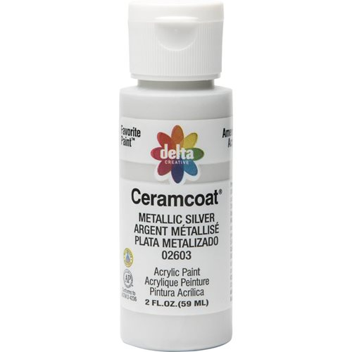 Delta Ceramcoat ® Acrylic Paint - Metallic Silver, 2 oz. - 026030202W
