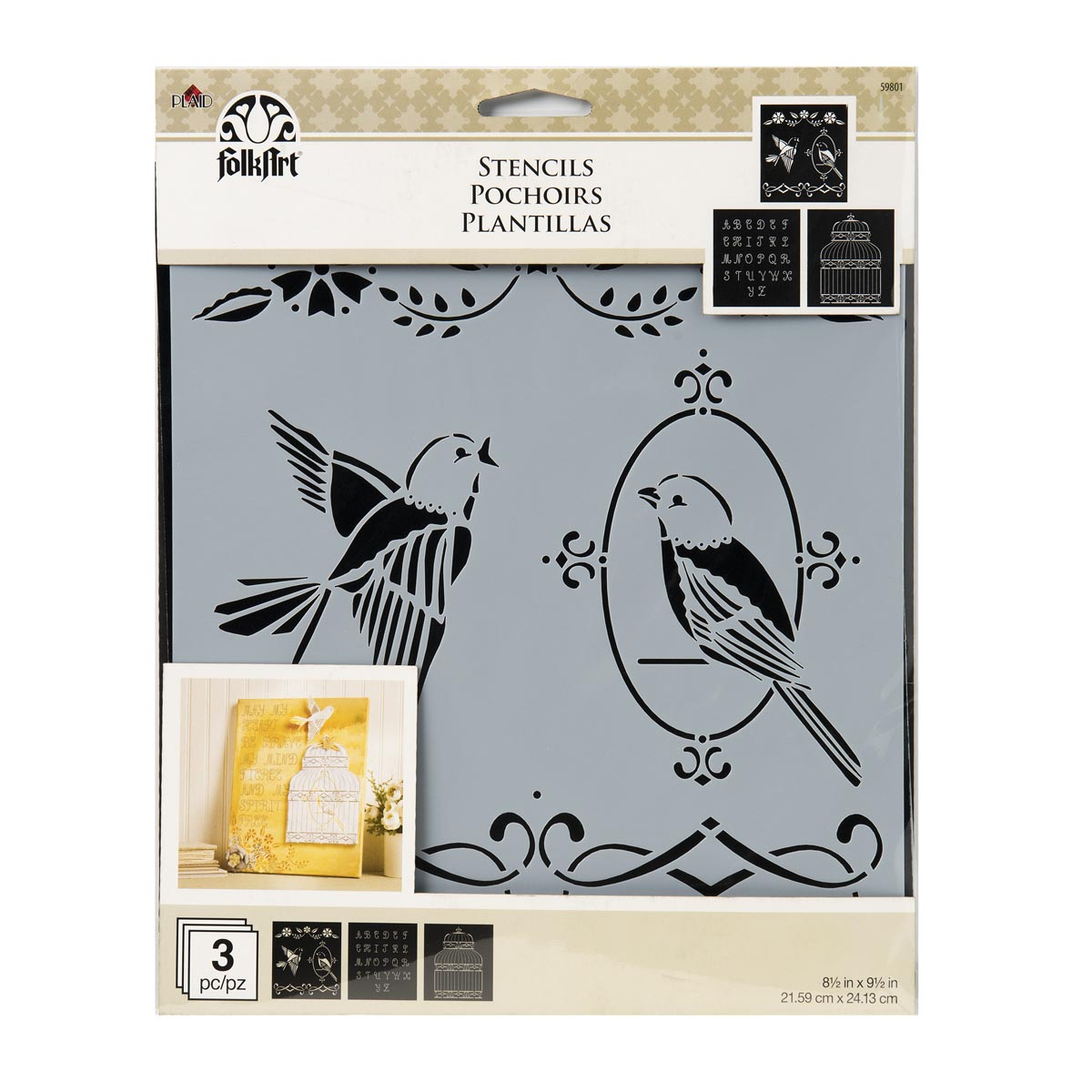 FolkArt ® Craft Stencils - Value Packs - Birdcage - 59801