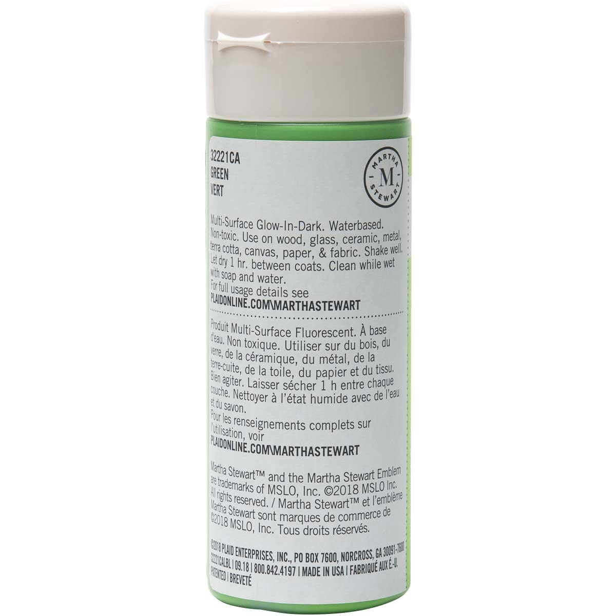 Martha Stewart ® Multi-Surface Glow-in-the-Dark Acrylic Craft Paint - Green, 6 oz. - 32221CA