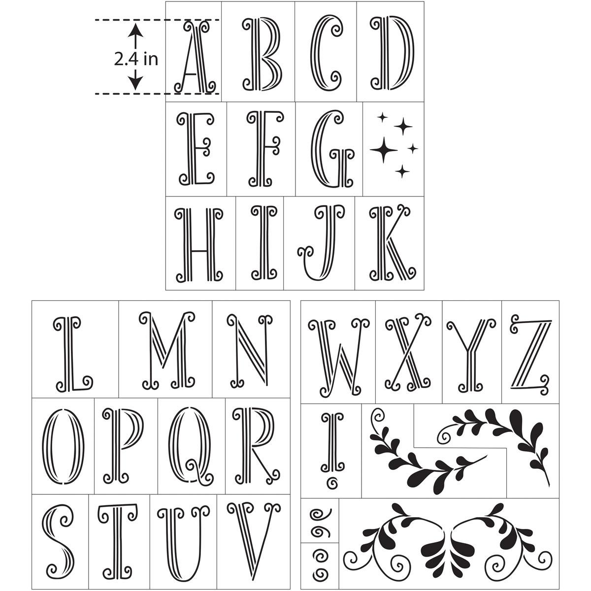 Hallmark Handcrafted Adhesive Stencils - Little Princess Font, 8-1/2