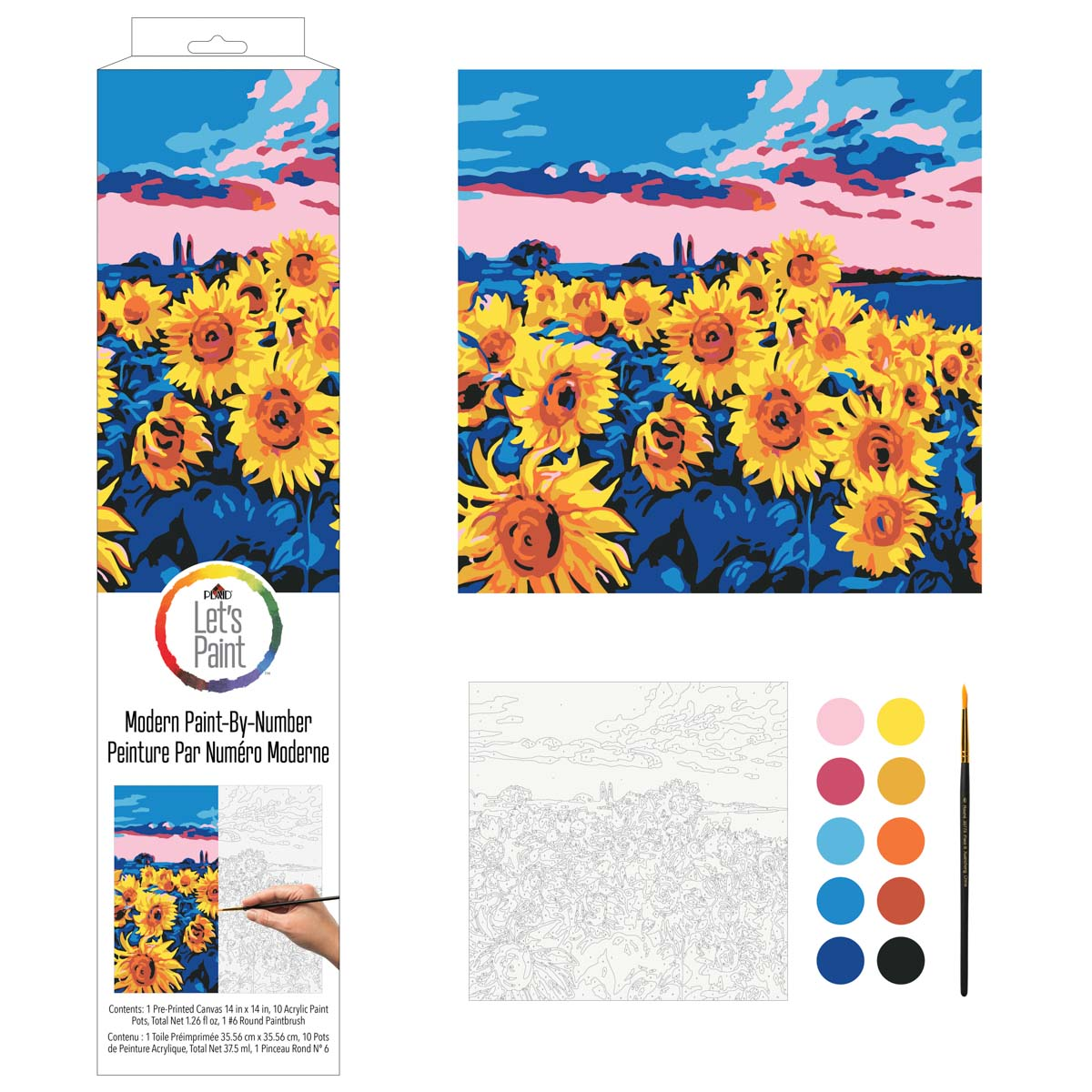 Plaid ® Let's Paint™ Modern Paint-by-Number - Sunflower Meadow - 17874