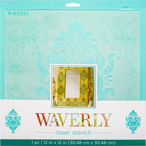 "Waverly ® Laser Stencils - Dressed Damask, 12"" x 12"""