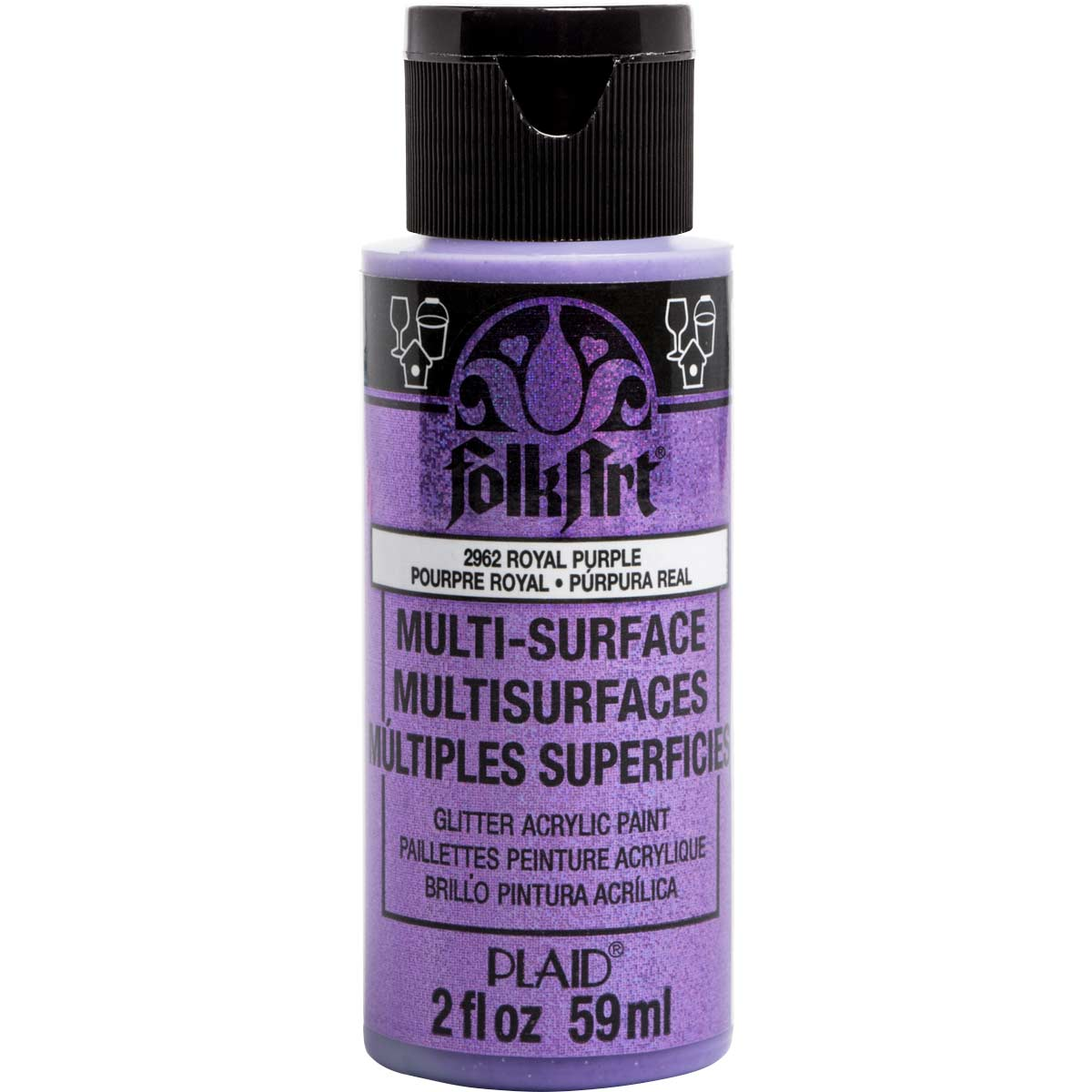 Folkart Multi Surface Glitter Acrylic Paints Royal Purple 2 Oz