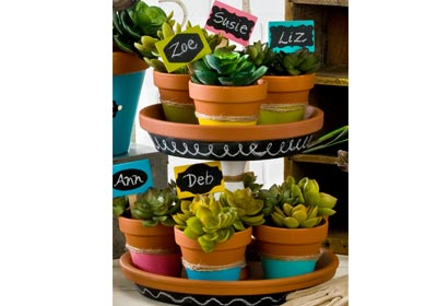 FolkArt Chalkboard Label Tiered Stand and Pots