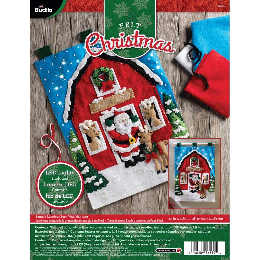 Bucilla ® Seasonal - Felt - Home Decor - Door/Wall Hanging Kits - Santa's Reindeer Barn with Lights
