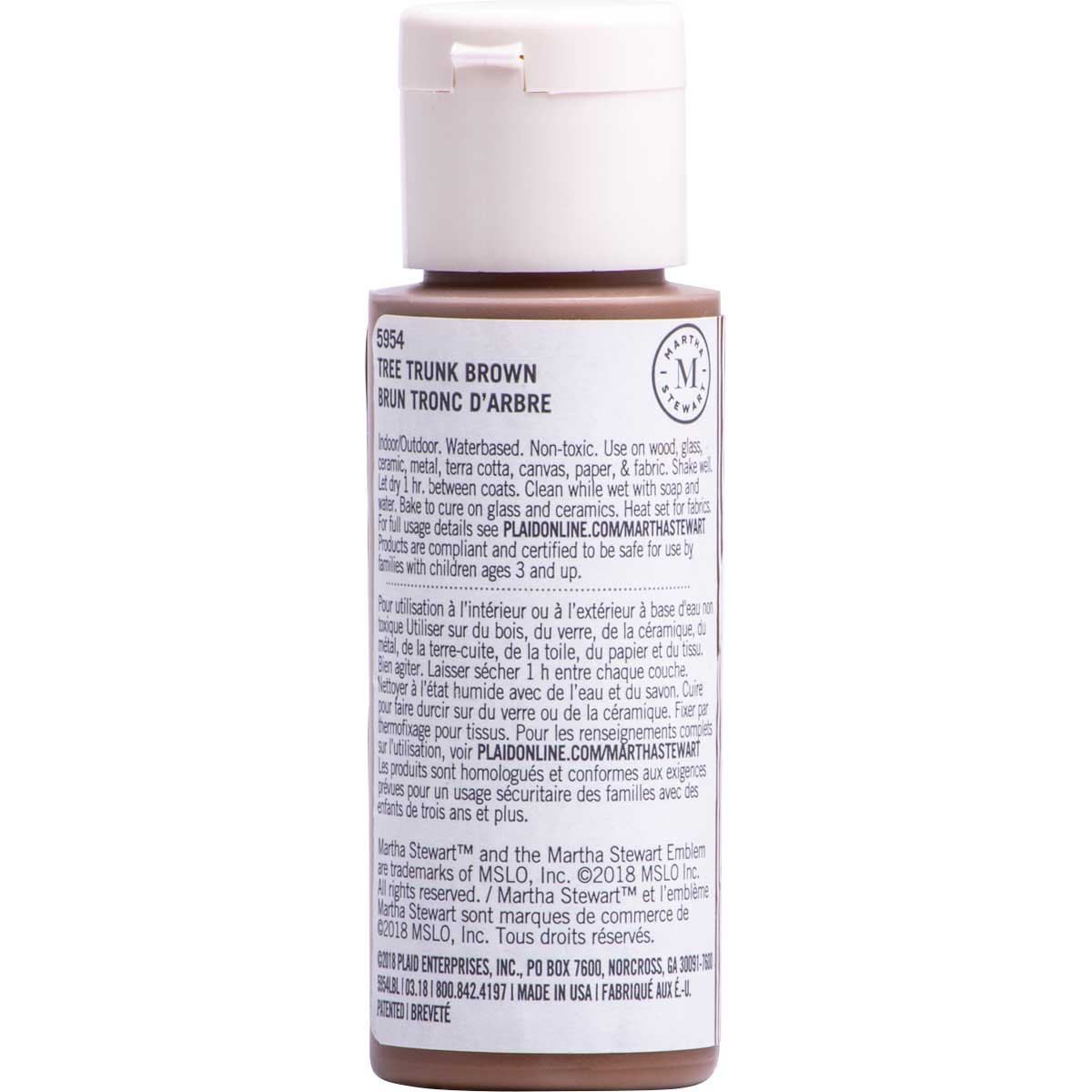 Martha Stewart ® Multi-Surface Satin Acrylic Craft Paint CPSIA - Tree Trunk Brown, 2 oz. - 5954
