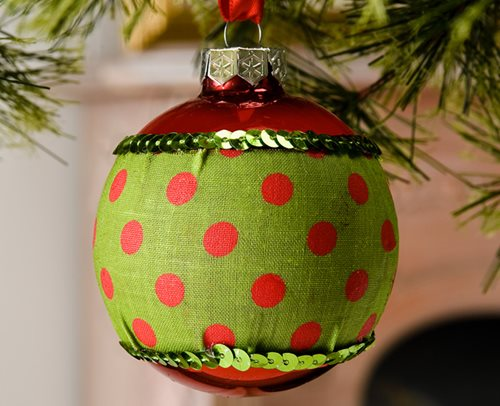 Green and Red Polka Dot Sparkle Ornament
