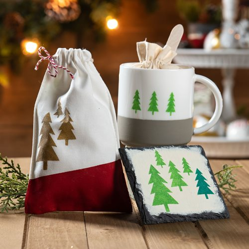 Holiday Tier Centerpiece - Canvas Gift Bag & Coaster Set