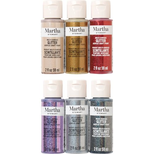 Martha Stewart ® Multi-Surface Glitter Acrylic Craft Paint 6-Color Best of Paint Set - MSORIGGLR6A