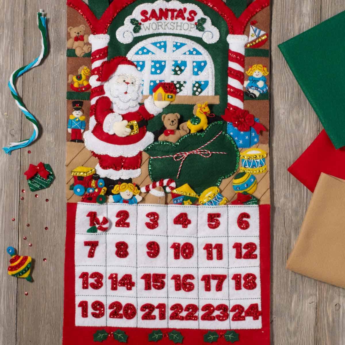 Bucilla ® Seasonal - Felt - Home Decor - Advent Calendar Kits - Santa's Workshop