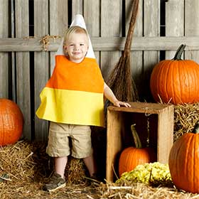Easy DIY Candy Corn Halloween Costume for Kids