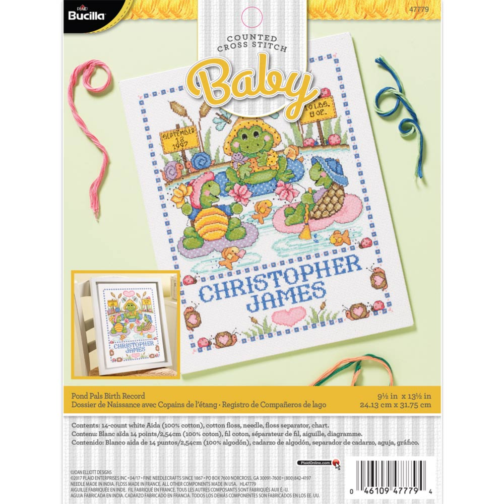 Bucilla ® Baby - Counted Cross Stitch - Crib Ensembles - Pond Pals - Birth Record Kit - 47779