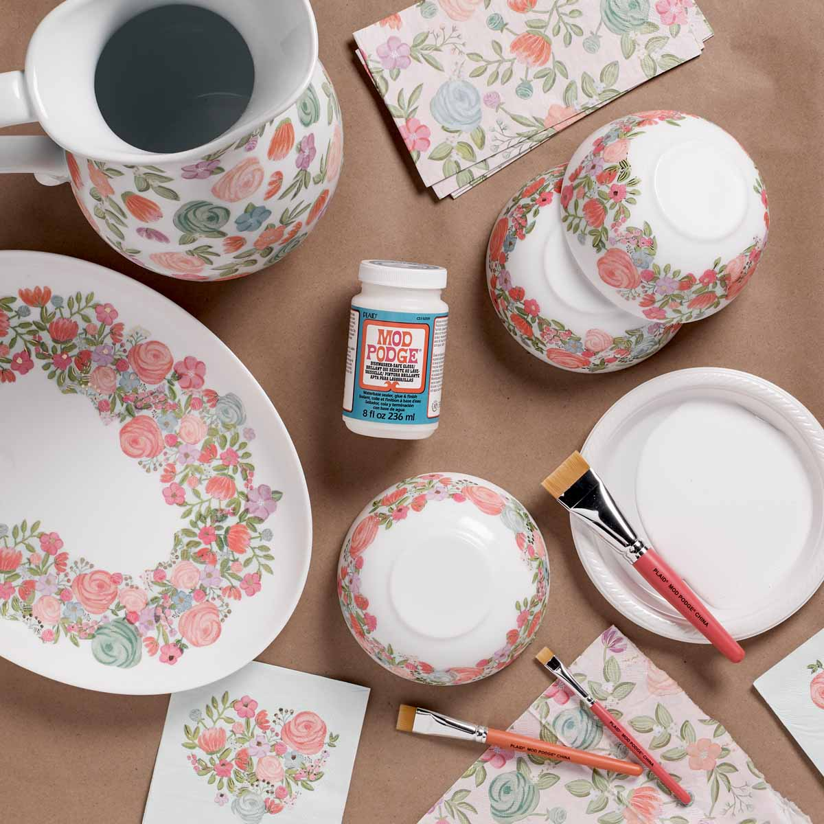 Mod Podge Dinnerware and Pitcher
