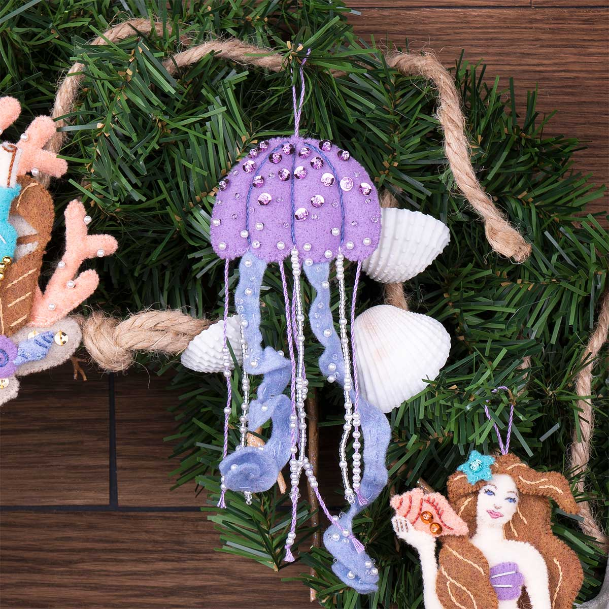 "Bucilla /'Sea Princess/"" Felt Christmas Ornaments Kit Mermaid Tropical Beach~6 New"