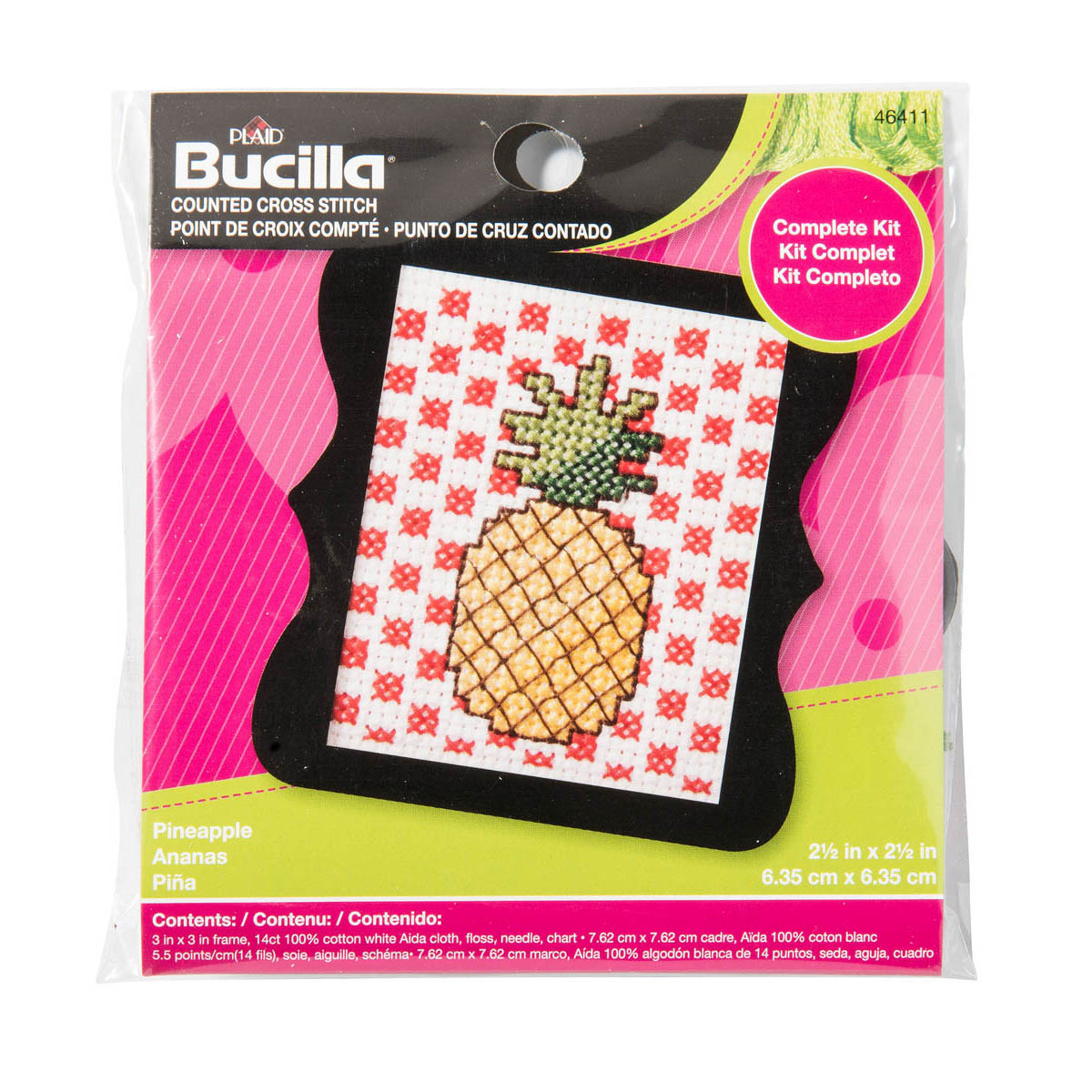 Bucilla ® Counted Cross Stitch - Beginner Stitchery - Mini - Pineapple - 46411