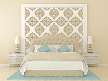 Ornate Damask Stenciled Wall