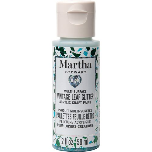 Martha Stewart ® Multi-Surface Vintage Leaf Glitter Acrylic Craft Paint CPSIA - Wintermint, 2 oz. -
