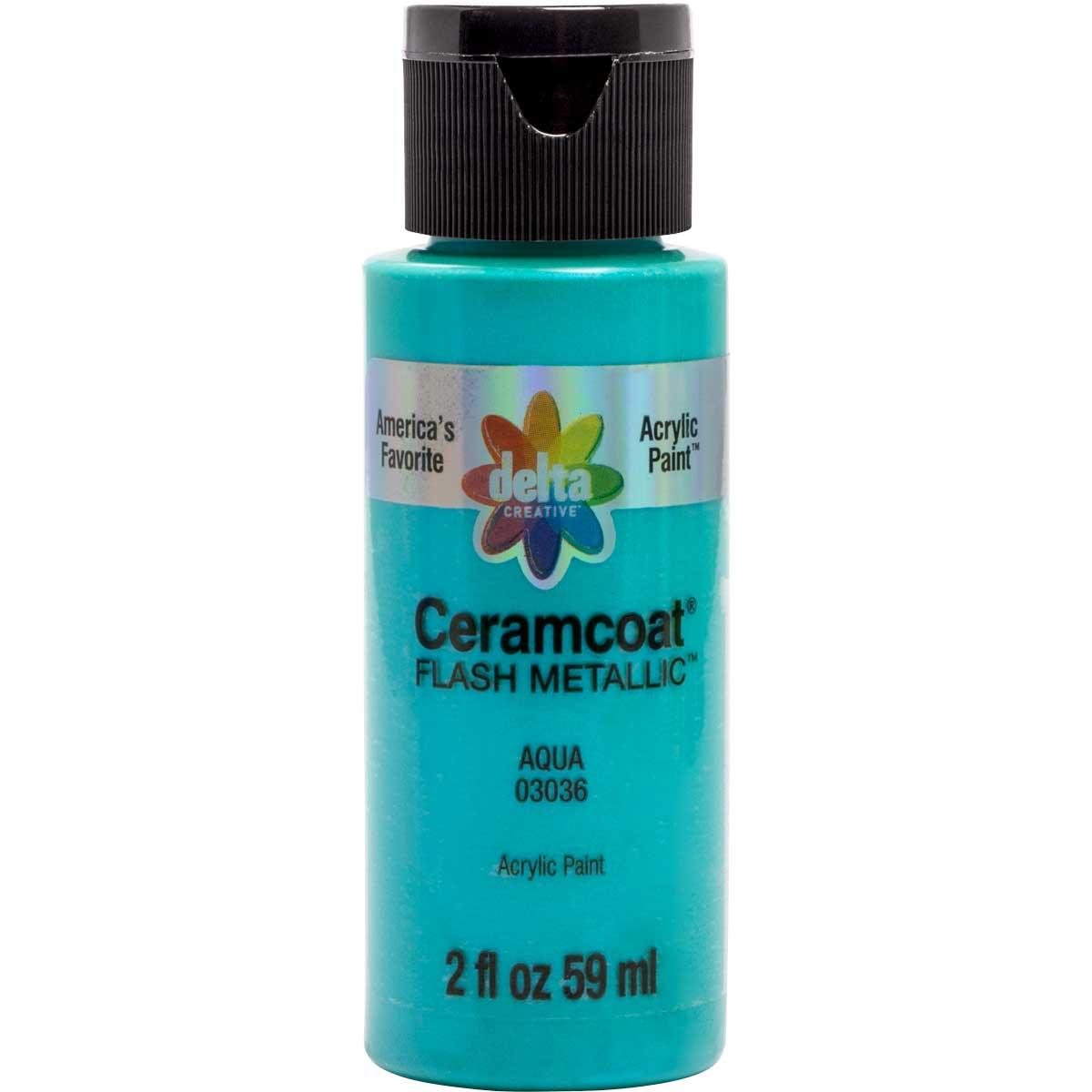 Delta Ceramcoat ® Acrylic Paint - Flash Metallic Aqua, 2 oz.