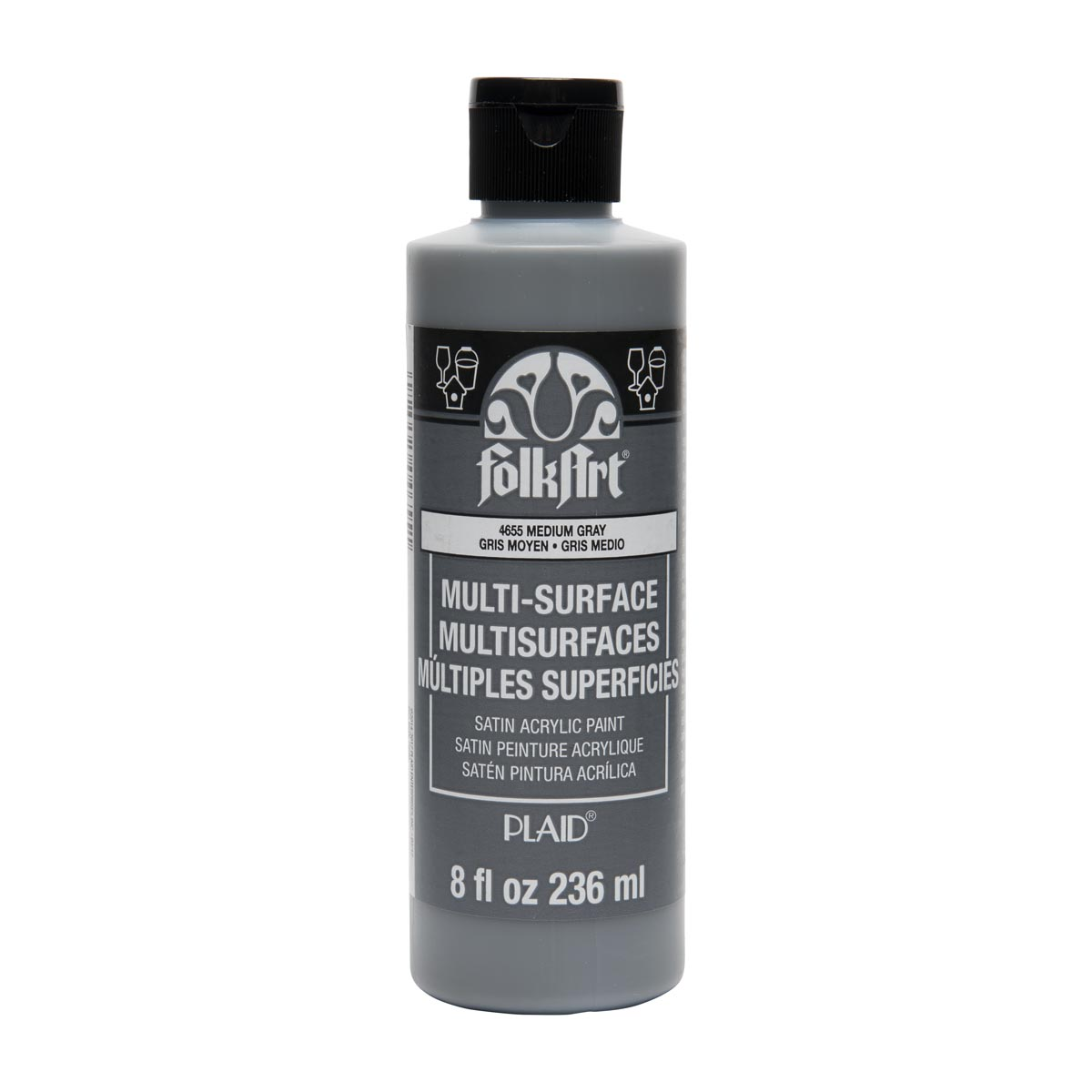 FolkArt ® Multi-Surface Satin Acrylic Paints - Medium Gray, 8 oz.