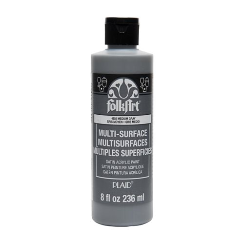 FolkArt ® Multi-Surface Satin Acrylic Paints - Medium Gray, 8 oz. - 4655
