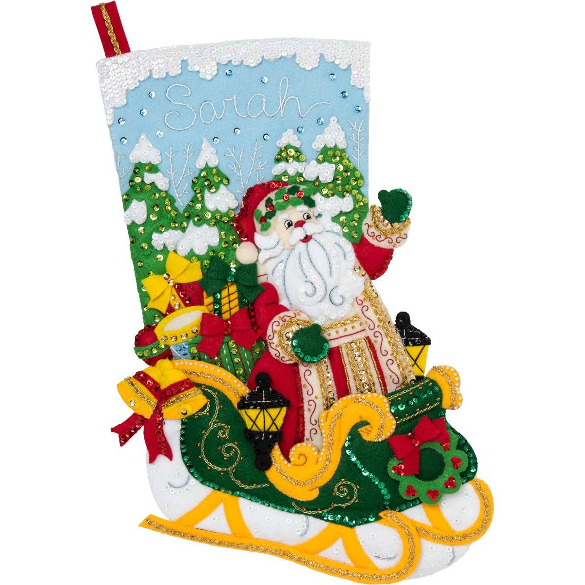 Bucilla ® Seasonal - Felt - Stocking Kits - Santa's Grand Sleigh - 86842E