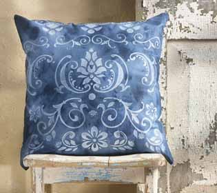 Indigo Stenciled Pillow