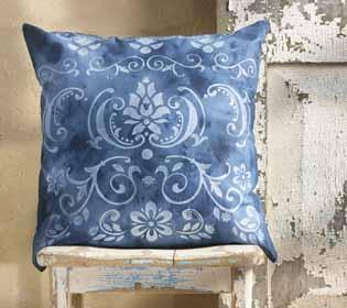 Indigo Stenciled Pillow