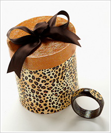 Leopard Wood Bracelet & Hat Box