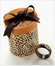 Leopard Wood Bracelet & Hat Box
