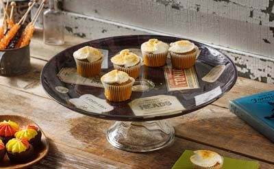 Decoupaged Glass Cake Stand