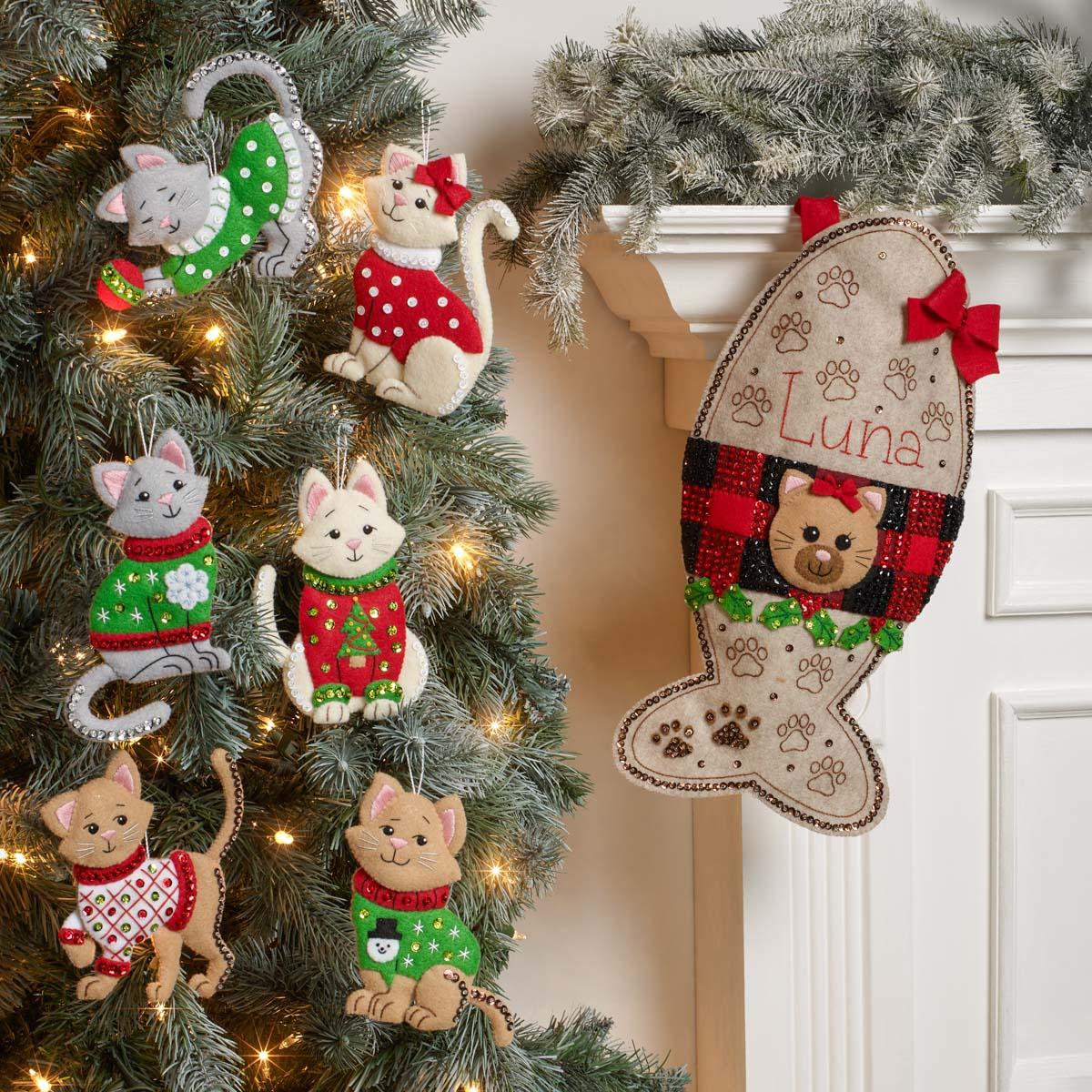 Bucilla ® Seasonal - Felt - Stocking Kits - Kitty Treat - 89327E