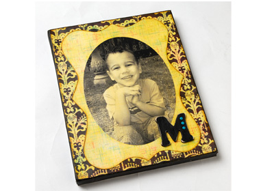 Monogrammed Antiqued Photo Canvas