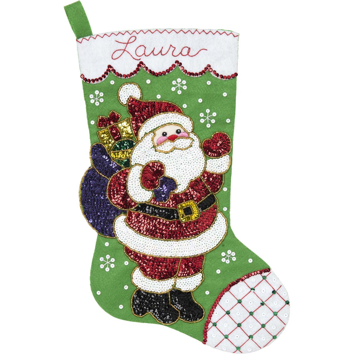 Glitz Santa 3.5 x 5 Bucilla 89263E Felt Applique Christmas Ornament Kit